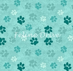 Fat Quarter - Animal Paws - Aqua
