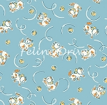 Fat Quarter - Animal Quackers - Frisky Kittens - Blue