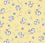 Fat Quarter - Animal Quackers - Frisky Kittens - Yellow