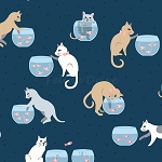 Fat Quarter - Are You Kitten Me - Cats & Fish Bowls