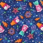 Fat Quarter - Astrocats - Sugar & Space - Cobalt