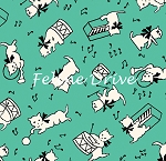 Fat Quarter - Aunt Grace Baskets of Scraps - Kittens - Green