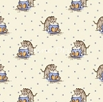 Fat Quarter - Aunt Grace - Kittens - Blue