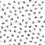 Fat Quarter - Bare Essentials Deluxe - Paw Prints - Black on White