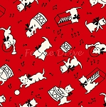 Fat Quarter - Aunt Grace Baskets of Scraps - Kittens - Red