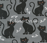 Fat Quarter - Bats & Black Cats - Bone Appetit - Gray