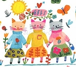 Fat Quarter - BFFs Organic - Cats - Multi