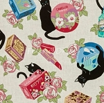Fat Quarter - Black Cat II - White