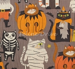 Fat Quarter - Boo Crew - Purrfect Pranksters - Grey