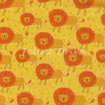 Fat Quarter - Born to be Wild - Lions - Yellow