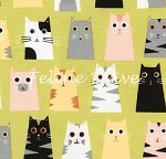 Fat Quarter - Box Cats - Olive