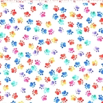 Brite Paw Prints on White