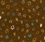 Fat Quarter - Build Each Other Up - Paw Prints - Brown