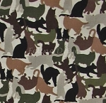 Fat Quarter - Cat Breeds - Camo Cats - Hunter