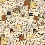 Fat Quarter - Meow Cartoon Cats - Natural