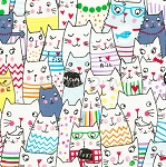 Meow Cartoon Cats - White