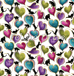 Fat Quarter - Cat-i-tude - Cats & Hearts - White