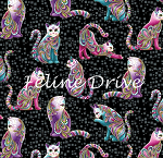 Fat Quarter - Cat-i-tude - Artist-O-Cats - Black