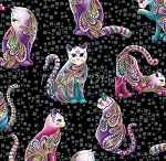 Cat-i-tude - Artist-O-Cats - Black
