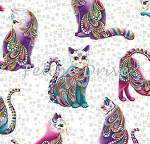 Fat Quarter - Cat-i-tude - Artist-O-Cats - White