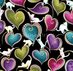 Fat Quarter - Cat-i-tude - Cats & Hearts - Black