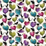 Cat-i-tude - Cats & Hearts - White