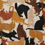 Fat Quarter - Cat Breeds - Camo Cats - Brown