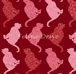 Fat Quarter - Cat-Centric - Cat Rows - Red