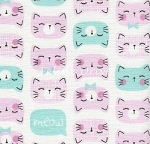 Fat Quarter - Cat Faces - Pink