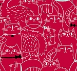 Cat Fish - Sketched Cats - Red
