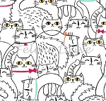 Cat Fish - Sketched Cats - White
