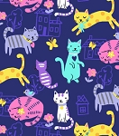 Flannel - Cat Fun on Purple
