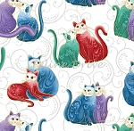 Fat Quarter - Cat-i-tude 2 - Purrfect Together - Cats on Scroll - Multi