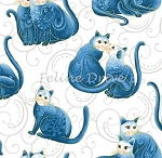 Fat Quarter - Cat-i-tude 2 - Purrfect Together - Cats on Scroll - Blue