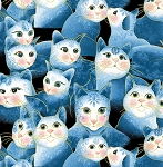 Fat Quarter - Cat-i-tude 2 - Purrfect Together - Sweetheart Cats - Blue