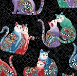 Fat Quarter - Cat-i-tude 2 - Purrfect Together - Playful Cats - Black