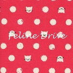 Fat Quarter - Cat Lady - Friskers - Coral