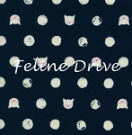 Fat Quarter - Cat Lady - Friskers - Navy