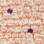 Fat Quarter - Cat Lady - Stack-O-Cats - Coral