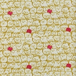 Fat Quarter - Cat Lady - Stack-O-Cats - Mustard