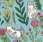 Catnip - Flower Cats - Aqua