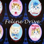 Fat Quarter - Cat Portraits & Eiffel Towers - Black