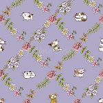 End of Bolt Piece - Cats In The Garden - Cats In Floral Diamonds - Purple - 26