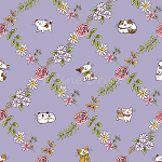 Fat Quarter - Cats In The Garden - Cats In Floral Diamonds - Purple