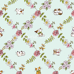Fat Quarter - Cats In The Garden - Cats In Floral Diamonds - Light Turquoise