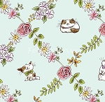 Cats In The Garden - Cats In Floral Diamonds - Light Turquoise