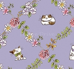 Cats In The Garden - Cats In Floral Diamonds - Purple