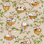 End of Bolt Piece - Cats in the Garden - Cats in Baskets - Tan - 9