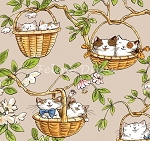 Fat Quarter - Cats in the Garden - Cats in Baskets - Tan