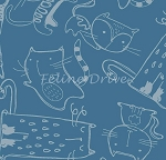Fat Quarter - Cat's Meow - Tonal Cats - Blue